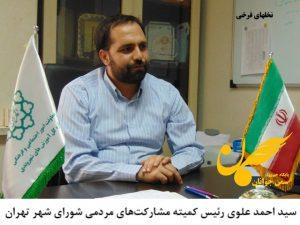 سید احمد علوی رئیس کمیته مشارکتهای مردمی شورای شهر تهران